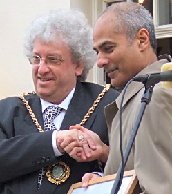 George Alagiah with the Mayor or Lichfield